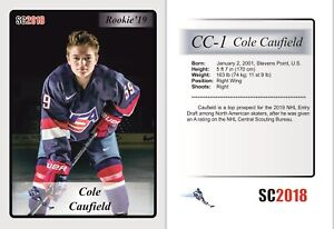 2018 SC CC1 Cole Caufield RC Rookie Team USA Montrel Canadiens