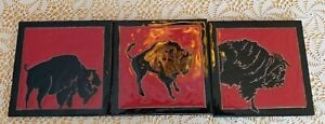 Set of 3 Bison Buffalo Black on Red Background Art Tiles Elaine Cain 6X6