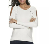 White Cold Shoulder Sweater Small Pullover Studded Jennifer Lopez Long Sleeve