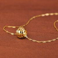 1pcs Real Solid 18k Yellow Gold Women Lucky Hollow Bead Pendant