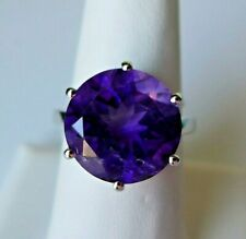 9.20Ct Natural Zambian Amethyst 925 Sterling Silver Ring, Size 7, Certificate