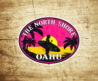 "Surf North Shore Hawaii 3.9"" Sticker Decal Oahu Surfing Laptop Bumper"