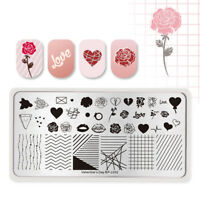 BORN PRETTY Nail Art Stamping Plates Rectangle Line Rose Layer Valentine's Day