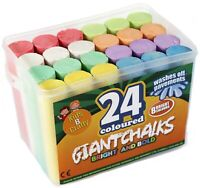 24 Coloured Chalks For Kids Giant Chalk Outdoor Pavements Drawing Chunky Bright