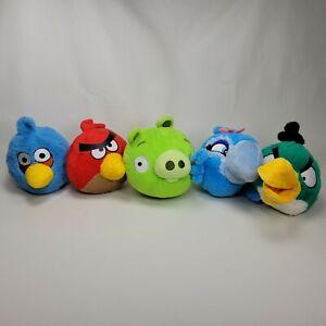 "Angry Birds 5"" Plush Lot of 5 Red Blue Bird Pig Rio Jewel Hal Boomerang"