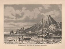 1885 Ca ANTIQUE PRINT ELISEE RECLUS : CAPE HORNER FROM KAGOSIMA BAY JAPAN