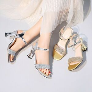 Womens Open Toe Plus Size Ankle Strap Dress Shoes High Heel Dating Pumps Sandals