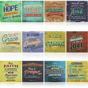 12x Bible Verse Posters Motivational Quotes Religious Wall Art Print 12 x 12 in.