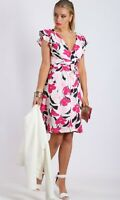 Teaberry Pink White Floral Wrap Dress Size 8 10 12 14 16 Cocktail