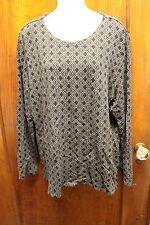 j. jill black grey geometric diamond print shirt top tunic XL