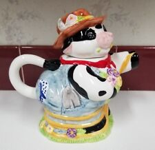 Farmer Cow with  Flowers Tea Pot