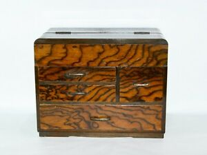 Antique Japanese sewing box, small chest of drawers, black persimmon bark