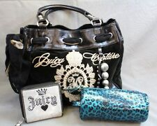 JUICY COUTURE Large Black Velvet + Faux Leather Embroidered Purse +2 Wallet Bag