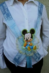 1 Baby Shower ~MOM TO BE SASH with MICKEY MOUSE~ Blue/boy, Ribbon,favors,Safari