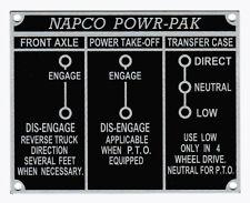1955 1956 1957 1958 1959 NAPCO Dash Plate Power-Pak Shift Layout Chevy GMC Truck