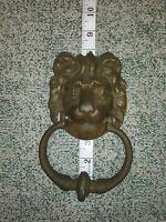 Antique Architectural Gothic Victorian Cast Brass Bronze Lion Head Door Knocker
