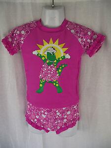 BNWT Girls Sz 3 Dorothy The Dinosaur Pretty Pink Rash Top & Pants Swim Suit Set
