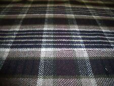 WOOL FLANNEL CHECK-BROWN/ECRU/BEIGE-FASHION FABRIC-FREE P+P