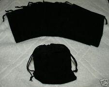 (10) LARGE VELVET BLACK  POUCHES  WITH DRAWSTRINGS
