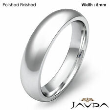 Men Wedding Band Platinum Classic Dome Comfort Fit Solid Ring 5mm 13.4g 12-12.75