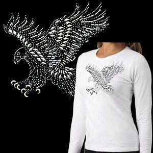 * Strass Glitzer Nieten  Adler Damen Girl  T-Shirt *7203 wh Ls