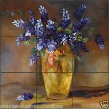 Bluebonnet Vase Art Tile Mural Kitchen Decorative Ceramic Artistic Backsplash