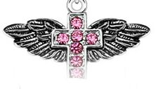 316L Surgical Steel Gem Cross on Angelic Wings Dangle Navel Belly Ring PINK