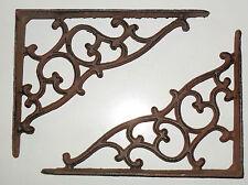 Beautiful cast iron VIctorian SWIRL wall shelf BRACKETS - PAIR