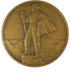 France mountaineering winter sports ALPINISME by Marcel Renard bronze 68mm
