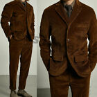 Men Brown Corduroy Vintage 3 Pieces Suits Three Button Hunting Leisure Wear Suit