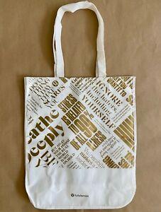 LULULEMON Reusable Shopping Bag - Large - White Gold MANIFESTO Tote