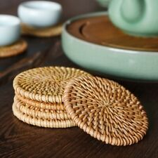Woven Rattan Placemats Heat Resistant Dining Table Mats Tea Coffee Pads Coasters