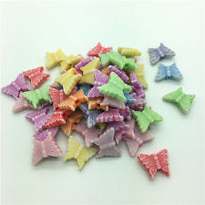 50pcs Mixed Butterfly Acrylic Perforation beads Children Kid DIY Jewelry Making