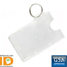 100 Pack - Specialist ID Secure Fuel Card Badge Holders with Keychain - Top Load