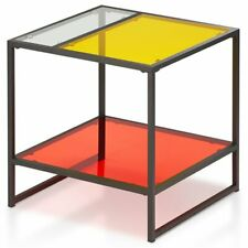 Furniture of America Tia Glass Top End Table in Red and Yellow