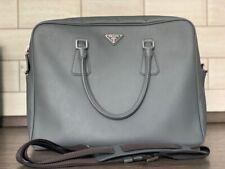 Prada Men Saffiano Handbag Bag Briefcase Leather Logo Belt