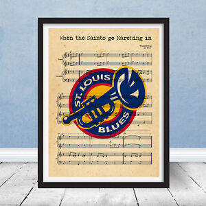 St Louis Blues Vintage Logo Saints Go Marching In Wall Decor Gift Hockey Music