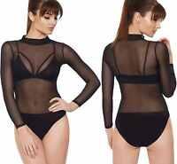 Womens Turtle Neck Mesh Sheer Long Sleeve Bra Leotard Top Ladies Bodysuit Set