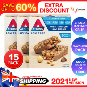 15-Pack Atkins Low Carb Day Break Bars Chocolate Hazelnut Crisp With Protein 37g