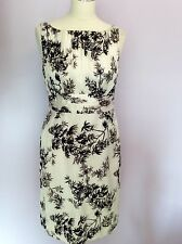 MONSOON IVORY WITH BLACK & GREY PRINT SILK & COTTON PENCIL DRESS SIZE 10