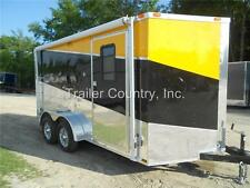 New 2021 7x14 7 X 14 V Nosed Enclosed Cargo Triple Color Motorcycle Trailer Ramp