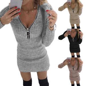 Damen Strickkleid Stretch Pulloverkleid Party Bodyconkleid Minikleid Pullover