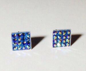 Genuine 925 Sterling Silver Blue CUBIC ZIRCON Stud Earrings + POLISHING CLOTH