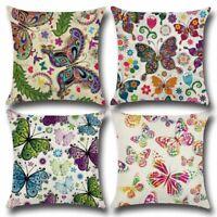 "18""Cartoon Butterfly Linen Pillow Case Sofa Waist Throw Cushion Cover Home Decor"