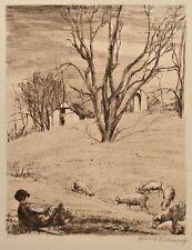Heinrich eickmann-Berger avec troupeau de moutons-Gravure-O. J.