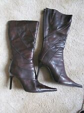 aldo uk 7 fab brown point stilleto calf length leather boots