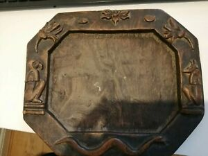 Vintage Wooden Carved Egyptian Inspired Tray