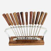 Vintage 12 Mid Century Modern Teak Appetizer/Cocktail/Olive Fork Set W/Stand