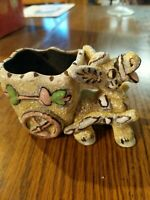 Vintage Donkey Burro Ass With Cart Pottery Planter #S1318