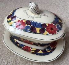 Art  Deco Adams Titian Ware Brocade small lidded tureen & stand hand-decorated 2